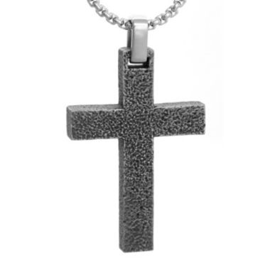 jcpenney.com | Mens Stainless Steel Textured Cross Pendant Necklace
