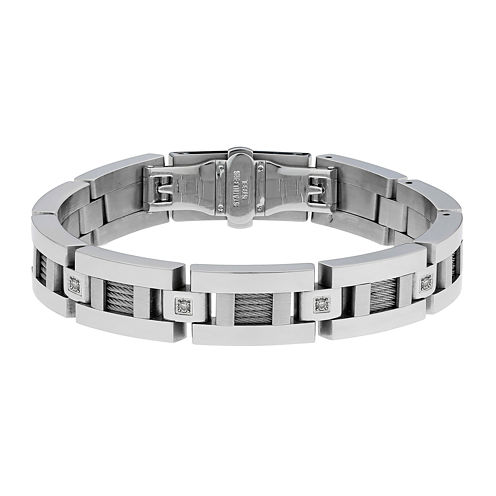 Mens 1/10 CT. T.W. Diamond Stainless Steel Link Bracelet