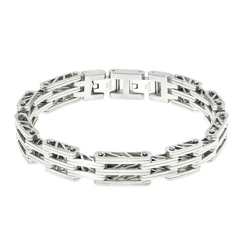 Mens Stainless Steel Chain Bracelet with Lock Extender