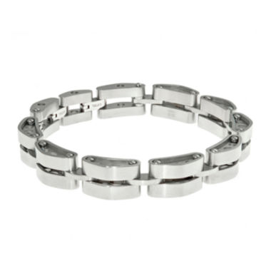 jcpenney.com | Mens Stainless Steel Tank Link Bracelet with Lock Extender