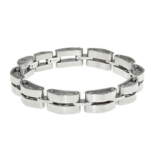 Mens Stainless Steel Tank Link Bracelet with Lock Extender