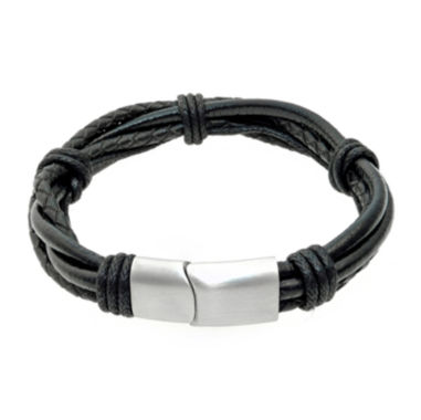 jcpenney.com | Mens Black Leather Bracelet with Stainless Steel Magnetic Clasp