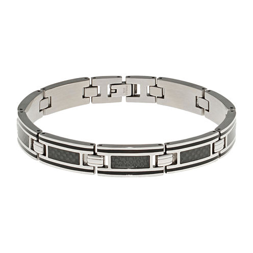 Mens Stainless Steel and Carbon Fiber Chain Bracelet