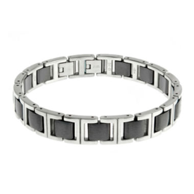 jcpenney.com | Mens Stainless Steel and Ceramic Chain Link Bracelet