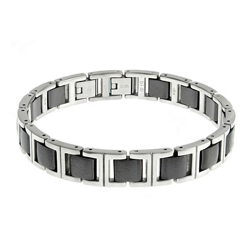 Mens Stainless Steel and Ceramic Chain Link Bracelet
