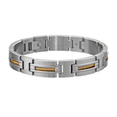 jcpenney.com | Mens Stainless Steel and Gold-Tone IP Cable Inlay Link Bracelet