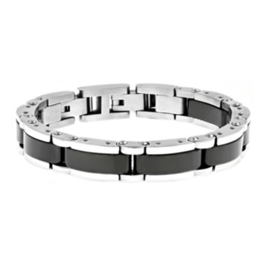 jcpenney.com | Mens Stainless Steel and Black Ceramic Link Bracelet