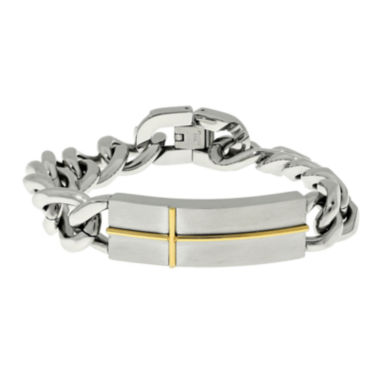 jcpenney.com | Mens Stainless Steel with Gold-Tone IP Cross ID Bracelet