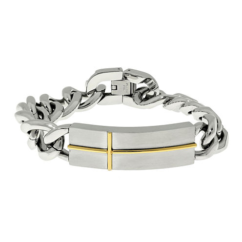 Mens Stainless Steel with Gold-Tone IP Cross ID Bracelet
