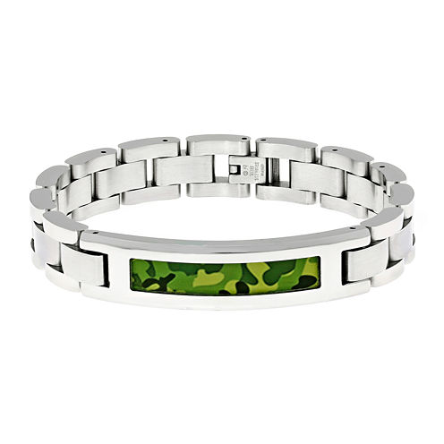 Mens Stainless Steel and Camouflage ID Bracelet