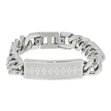 jcpenney.com | Mens Stainless Steel ID Bracelet with Argyle Pattern