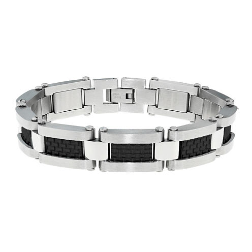 Mens Stainless Steel and Carbon Fiber Link Bracelet
