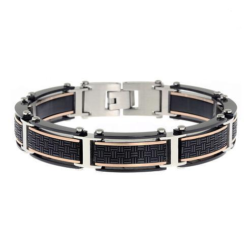 Mens Black IP Stainless Steel Chain Bracelet