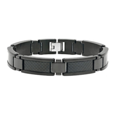 jcpenney.com | Mens Black IP Stainless Steel and Carbon Fiber Chain Bracelet