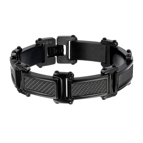 Mens Black Stainless Steel Chain and Carbon Fiber Bracelet