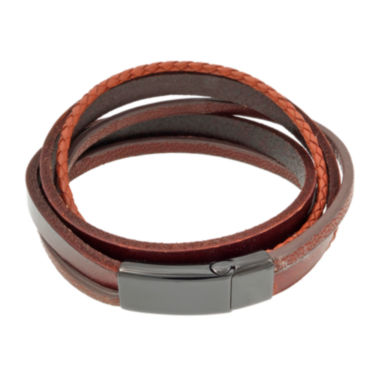 jcpenney.com | Mens Brown Leather and Stainless Steel Wrap Bracelet