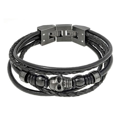 Mens Black Leather and Stainless Steel Skull Bracelet
