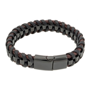 jcpenney.com | Mens Braided Leather Bracelet with Black Stainless Steel Magnetic Clasp