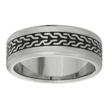 jcpenney.com | Mens Stainless Steel Band Ring with Black Plating