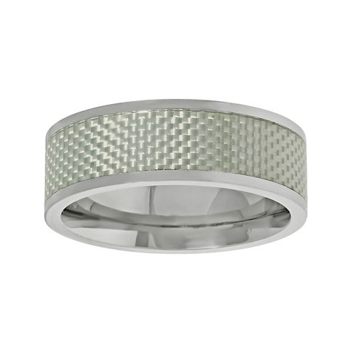 Mens Titanium Band Ring with Silver Carbon Fiber Inlay