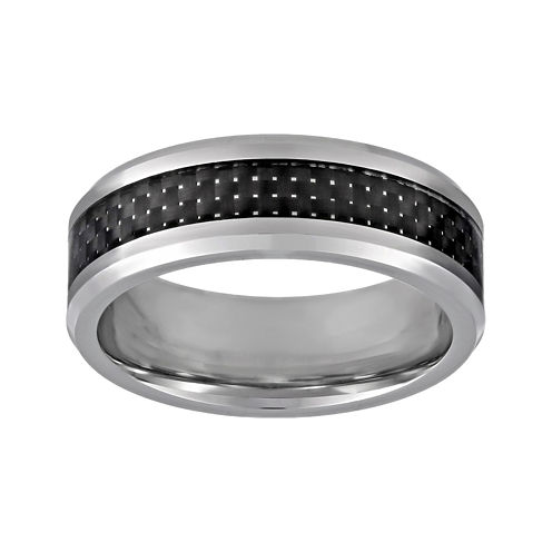 Mens Titanium Band Ring with Carbon Fiber Inlay