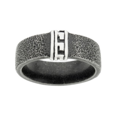 jcpenney.com | Mens Black Stainless Steel Band with Greek Design
