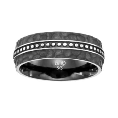 jcpenney.com | Mens Stainless Steel Ring with Black IP Plating