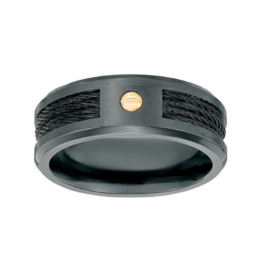 jcpenney.com | Mens Black Zirconium Band Ring with Gold-Tone Screw Accent