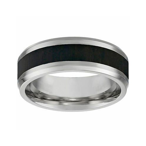 Mens Two-tone Stainless Steel Band Ring with Wood Inlay