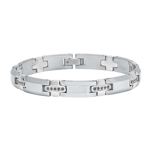 Mens 1/2 CT T.W. Black Diamond Tungsten Chain Bracelet