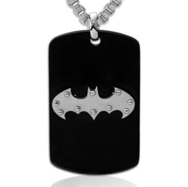 jcpenney.com | DC Comics® Batman Black IP Stainless Steel Dog Tag Pendant Necklace
