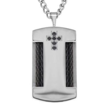 jcpenney.com | Black Cubic Zirconia & Stainless Steel Cross Dog Tag Pendant Necklace