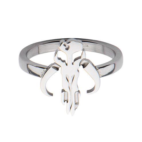 Star Wars® Stainless Steel Mandalorian Symbol Cutout Ring