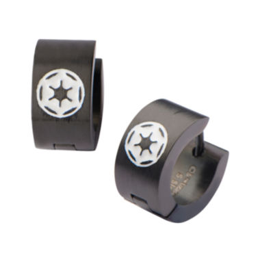 jcpenney.com | Star Wars® Black Stainless Steel Galactic Empire Cog Logo Hoop Earrings