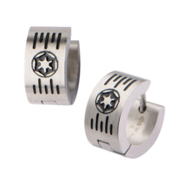 jcpenney.com | Star Wars® Stainless Steel Galactic Empire Cog and Grate Logo Hoop Earrings