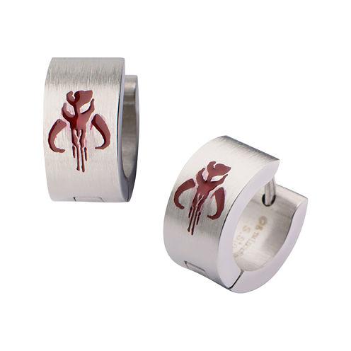 Star Wars® Stainless Steel Mandalorian Symbol Hoop Earrings