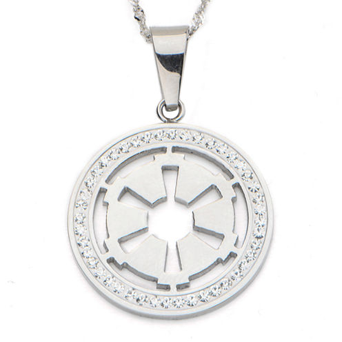 Star Wars® Stainless Steel Imperial Symbol Cutout Pendant Necklace