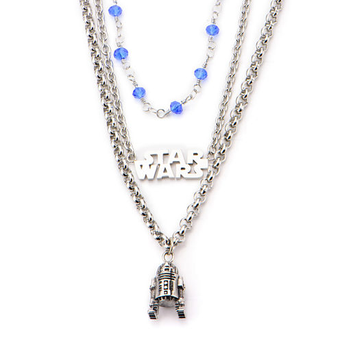 Star Wars® Stainless Steel R2D2 3-Tiered Pendant Necklace