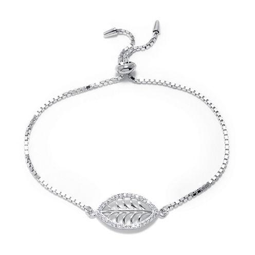 Cubic Zirconia Sterling Silver Leaf Slide Bracelet