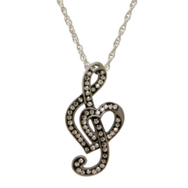 jcpenney.com | Crystal Sterling Silver Music Note Pendant Necklace