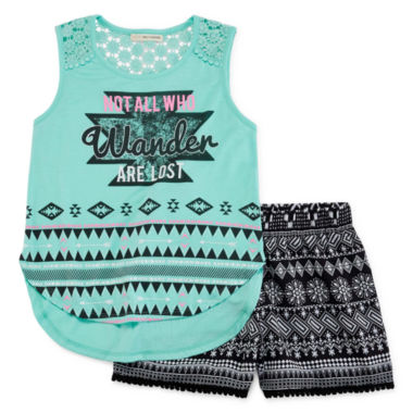 jcpenney.com | Self Esteem® Sleeveless Crochet Top and Shorts Set - Girls 7-16 and Plus
