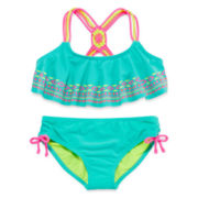Breaking Waves Macrame Flounce Bikini Top and Bottoms - Girls 7-16