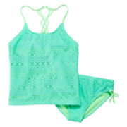 Angel Beach Crochet Tankini Top and Bottoms - Girls 7-16