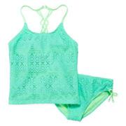 Angel Beach Crochet Tankini Top and Bottoms - Girls 7-16