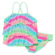 Angel Beach 3-Tier Crochet Tankini Top and Bottoms - Girls 7-16
