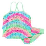 Angel Beach 3-Tier Crochet Tankini Top and Bottoms - Girls 7-16
