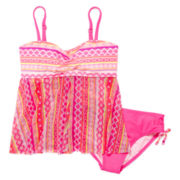 Angel Beach Aztec Mesh Tankini Set - Girls 7-16