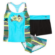 ZeroXposur® Hibiscus 3-pc. Tankini Swimsuit with Shorts Set - Girls 7-16