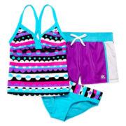 ZeroXposur® 3-pc. Tankini Swimsuit with Shorts Set - Girls 7-16