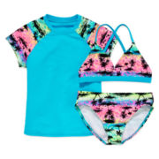Angel Beach Sunrise Rash Guard 3-pc. Swim Set - Girls 7-16